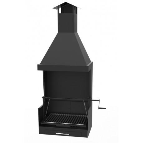Barbacoa de Carbón y Leña vista, 126 x 40 x 227 cm con embellecedor de humos y con elevador