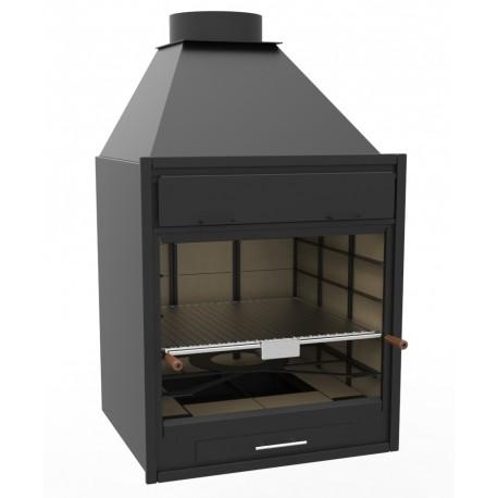 Barbacoa de Carbón y Leña de 70 cm vista y encastrable, 78 x 76 x 132 cm, regulable a 4 alturas