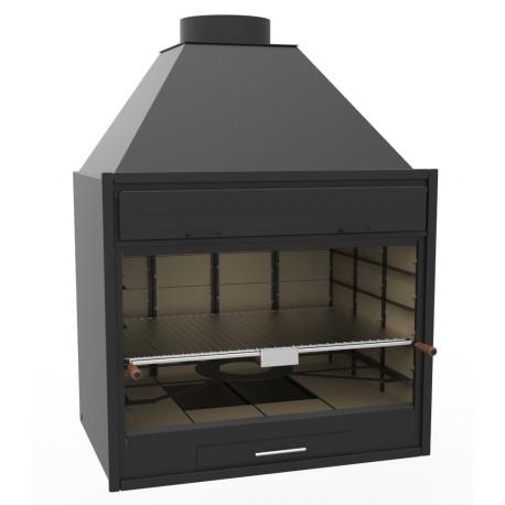 Barbacoa de Carbón y Leña de 90 cm vista y encastrable, 100 x 76 x 137 cm, regulable a 4 alturas