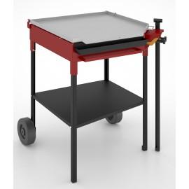 Plancha de gas FM en acero al carbono, mueble con ruedas, PL60