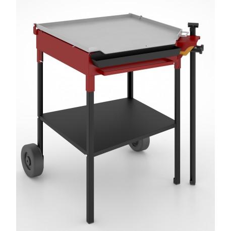 Plancha de gas 60 x 60 cm en acero al carbono, mueble con ruedas